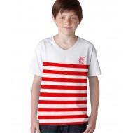 Marinière blanc et rouge ados (coupe mixte)