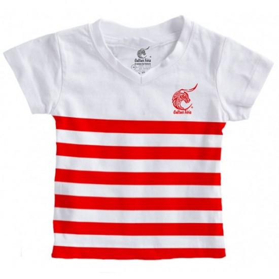 Marinière blanche et rouge enfant (coupe mixte)